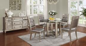 Danette Collection 106470CS 6 PC Dining Room Set with Round Dining Table + 4 Side Chairs + Server in Metallic Platinum Color