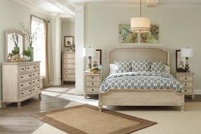 Demarlos King Bedroom Set with Upholstered Panel Bed, Dresser, Mirror and Chest in Parchment White