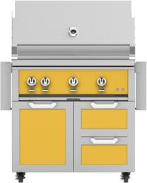 "36"" Freestanding Natural Gas Grill with GCR36YW Tower Grill Cart with Three Doors, in Sol Yellow"