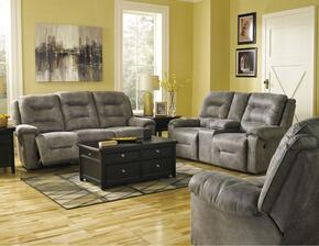 Rotation 97501PSLR 3-Piece Living Room Set with Power Reclining Sofa, Double Power Reclining Loveseat and Power Rocker Recliner in Smoke Color