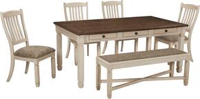 Bolanburg Collection 6-Piece Dining Room Set with Dining Room Table, 4 Side Chairs and Bench in Two-Tone