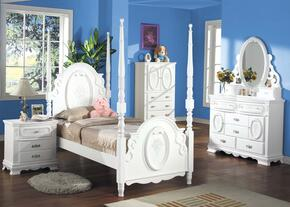 Flora Collection 01657FDMNTVA Full Size Poster Bed + Dresser + Mirror + Nightstand + TV Armoire in White Finish