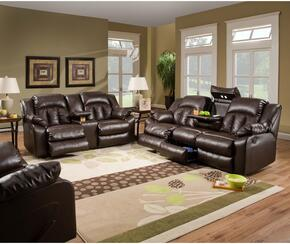 Sebring 50325-6863519 3 Piece Set including Double Motion Sofa, Loveseat and Recliner  with  Hidden Storage Compartment and Bonded Leather in Coffeebean