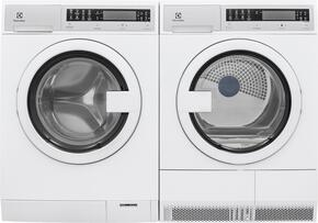 "White Compact Front Load Laundry Pair with EFLS210TIW 24"" Washer and EFDE210TIW 24"" Electric Dryer"