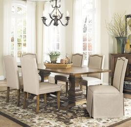 Parkins 103711SETA 7 PC Dining Room Set with Table + 4 Parson Chairs + 2 Parson Chairs with Skirt in Coffee Color