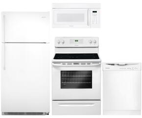 """4-Piece White Kitchen Package with FFTR1821QW 30"""" Top Freezer Refrigerator, FFEF3018LW 30"""" Freestanding Electric Range, FFBD2412SW 24"""" Full Console Dishwasher and FFMV162LW 30"""" Over the Range Microwave"""