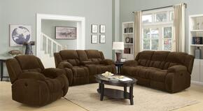 Weissman 601924SLC 3 PC Living Room Set with Reclining Sofa + Reclining Loveseat + Gliding Recliner in Brown Color