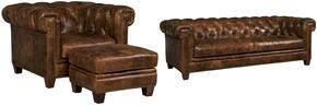 SS195 3-Piece Living Room Set with Malawi Tonga Stationary Sofa, Chair and Ottoman in Distressed Medium Brown