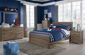 Javarin Full Bedroom Set with Panel Bed, Dresser, Mirror, 2x Nightstands and Chest in Greyish Brown