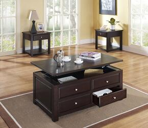 Malden 80257CE 3 PC Living Room Table Set with Coffee Table + 2 End Tables in Espresso Finish