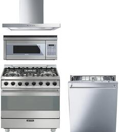 "4-Piece Stainless Steel Kitchen Package with C30GGXU1 30"" Freestanding Gas Range, KSM30XU 30"" Wall Mount Hood, OTR111SU 30"" Over the Range Microwave, and STU8649X 24"" Fully Integrated Dishwasher"