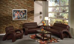 Irisa 51735SLC 3 PC Living Room Set with Sofa + Loveseat + Chair in Chocolate Color