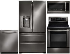"4-Piece Black Stainless Steel Kitchen Package with LMXS27626D 36"" French Door Refrigerator, LRE3083BD 30"" Electric Freestanding Range, LDF8874ST 24"" Built In Dishwasher and LMHM2237BD 30"" over the Range Microwave Oven"