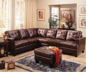 Samuel 500911SSACO 3-Piece Living Room Set with Sectional Sofa, Armless Chair and Ottoman in Dark Brown