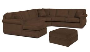 Veronica 617LCHSS4PCO/8175-89 2-Piece Living Room Set with 4PC Left Chaise Sectional and Storage Ottoman in 8175-89 Brown