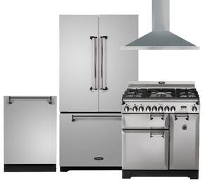 "Legacy 4-Piece Stainless Steel Kitchen Package with AMLFDR23SS 36"" French Door Refrigerator, ALEGS36DFSS 36"" Freestanding Dual Fuel Range, ALTTDWSS 24"" Fully Integrated Dishwasher and AMCHD36SS 36"" Wall Mount Canopy Chimney Range Hood"