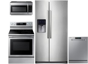 "4-Piece Stainless Steel Kitchen Package with RS25H5111SR 36"" Side-By-Side Refrigerator, NE59J7630SS 30"" Freestanding Electric Range, DW80J3020US 24"" Full Console Dishwasher and ME18H704SFS 30"" Over The Range Microwave"