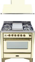 "2-Piece Antique White Kitchen Package with UM90FDMPAY 36"" Freestanding Dual Fuel Range (Oiled Bronze Trim, 4 Burners, Griddle) and UAM90A 36"" Wall Mount Range Hood"