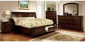 Northville Collection CM7683QSBDMCN 5-Piece Bedroom Set with Queen Storage Bed, Dresser, Mirror, Chest and Nightstand in Dark Cherry Finish