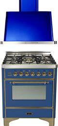"2-Piece Midnight Blue Kitchen Package with UM76DVGGBLY 30"" Freestanding Gas Range (Oiled Bronze Trim, 5 Burners, Timer) and UAM76BL 30"" Wall Mount Range Hood"