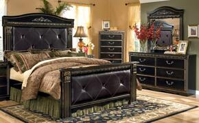 Coal Creek Queen Bedroom Set with Upholstered Mansion Bed, Dresser, Mirror and Chest in Dark Brown