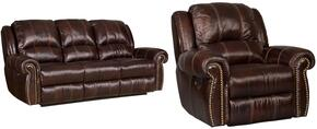 SS611 2-Piece Living Room Set with Saddle Brown Power Motion Sofa and Recliner in Medium Brown