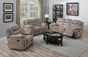 Dreka 52180SLR 3 PC Living Room Set with Sofa + Loveseat + Recliner in Stone Grain Color
