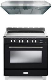 "Verona Matte Black 2-Piece Kitchen Package With VCLFSEE365E 36"" Classic Series Electric Freestanding Range with 5 Burners and VEHOOD3610 36"" Under Cabinet Range Hood"