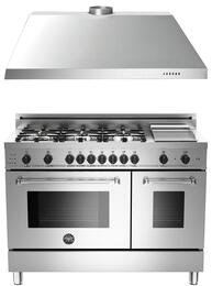 "2-Piece Stainless Steel Kitchen Package with MAS486GDFSXTLP 48"" Liquid Propane Dual-Fuel Double Oven Range and KU48PRO1X14 48"" Wall-Mount Range Hood"
