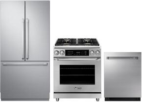 "3-Piece Stainless Steel Kitchen Package with DRF367500AP 36"" French Door Refrigerator, ER30DCNG 30"" Freestanding Dual Fuel Range, and RDW24S 24"" Fully Integrated Dishwasher"