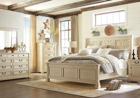 Bolanburg Queen Bedroom Set with Lattice Panel Bed, Dresser, Mirror and Nightstand in Antique White
