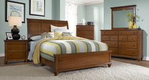 Hayden Place Collection 6 Piece Bedroom Set With King Size Sleigh Bed + 2 Nightstands + Dresser + Drawer Chest + Mirror: Light Cherry