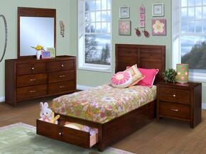 05060TBDMN Kensington 4 Piece Set with Twin Storage Bed, Dresser, Mirror and Nightstand, in Burnished Cherry