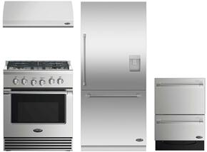 "4 Piece Kitchen Package With RGV2304N 30"" Gas Freestanding Range, ES30 30"" Wall Mount Hood, RS36W80RUC1 36"" Built In Bottom Freezer Refrigerator and DD24DV2T7 24"" Dishwasher in Stainless Steel"