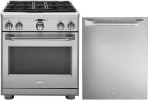 "2-Piece Stainless Steel Kitchen Package with ZDP304NPSS 30"" Freestanding Dual Fuel Range and ZDT915SPJSS 24"" Fully Integrated Dishwasher"