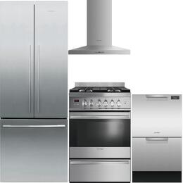 "4-Piece Stainless Steel Kitchen Package with RF201ADX5 36"" French Door Refrigerator, OR30SDBMX1 30"" Freestanding Gas Range, HC30PHTX1 30"" Wall Mount Hood, and DD24DAX9 24"" Full Console Dishwasher"