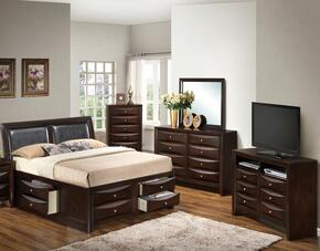 G1525ITSB4DMCHTV2 5 Piece Set including  Twin Size Bed, Dresser, Mirror, Chest and Media Chest  in Cappuccino
