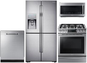 "4 Piece Kitchen Package With NX58H9500WS 30"" Slide-in Gas Range, ME21H9900AS Microwave Oven, RF23J9011SR 36"" Counter Depth Refrigerator and DW80K5050US 24"" Built In Dishwasher"