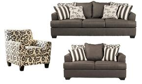Levon Collection 73403SLAC 3-Piece Living Room Set with Sofa, Loveseat and Accent Chair in Charcoal