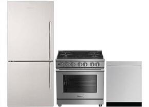 "3-Piece Kitchen Package with BRFB1812SSLN 30"" Counter Depth Bottom Freezer Refrigerator, BDFP34550SS 30"" Freestanding Dual Fuel Range, and a free DWT55100SS 24"" Built In Fully Integrated Dishwasher in Stainless Steel"