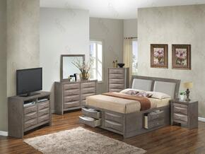 G1505IFSB4CHDMNTV2 6 Piece Set including  Full Size Bed, Chest, Dresser, Mirror, Nightstand and Media Chest  in Gray