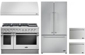"4 Piece Kitchen Package With RGV2486GDN 48"" Gas Freestanding Range, VS48 48"" Wall Mount Hood, RF201ACJSX1 36"" French Door Refrigerator and two DD24SV2T7 24"" Dishwasher Drawers in Stainless Steel"