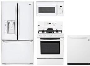 "4-Piece Kitchen Package with LFXS29626W 36"" French Door Refrigerator, LRG3193SW 30"" Freestanding Gas Range, LMV1762SW 30"" Over the Range Microwave Oven, and LDP6797WW 24"" Built In Fully Integrated Dishwasher in White"
