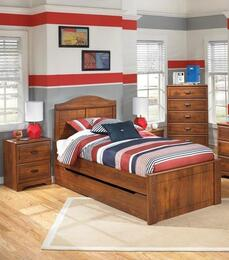 Barchan Twin Bedroom Set with Panel Bed with Trundle and 2 Nightstands in Warm Brown