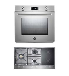 "Professional 2-Piece Stainless Steel Kitchen Package with F30PROXE 30"" Single Electric Wall Oven and PM363I0X 36"" Electric/Gas Cooktop"