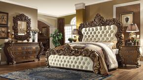 HD8011CKPBDMN California King Bedroom Set with Panel Bed, Dresser, Mirror and Nightstand in Golden Walnut Finish