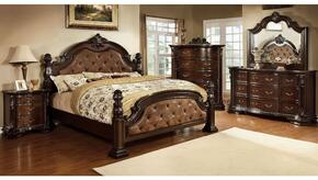 Monte Vista I Collection CM7296DAKDMCN 5-Piece Bedroom Set with King Bed, Dresser, Mirror, Chest and Nightstand in Brown Cherry Finish