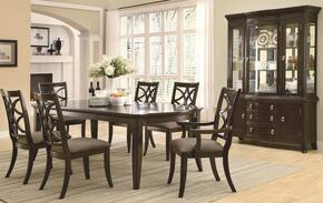 Meredith 103531SETB 8 PC Dining Room Set with Table + 4 Side Chairs + 2 Arm Chairs + China Cabinet in Espresso Finish