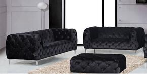 Mercer Collection 646-BL-S-L 2 Piece Living Room Set with Sofa and Loveseat in Black