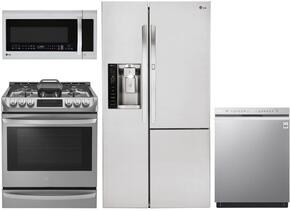 "4 Piece Kitchen Package With LSG4513ST 30"" Slide In Gas Range, LMV1683ST Over The Range Microwave Oven, LSXS26366S 36"" Side by Side Refrigerator and LDF8874ST 24"" Built In Dishwasher in Stainless Steel"